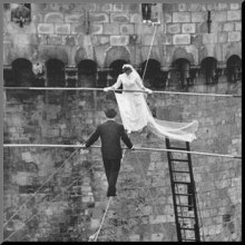 Bride and Groom on a Tightrope